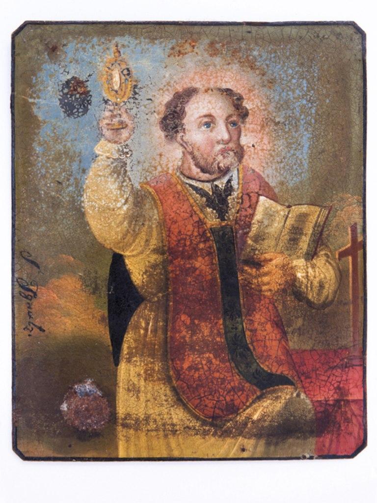 <p>Obrázek sv. Ignáce zLoyoly, lidová malba na plechu, 19. – počátek 20. století.</p>