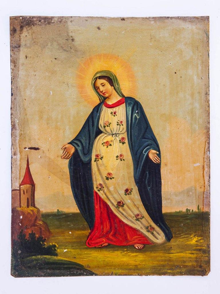 <p>Obrázek Panny Marie Karlovské, lidová malba na plechu, 19. – počátek 20. století.</p>