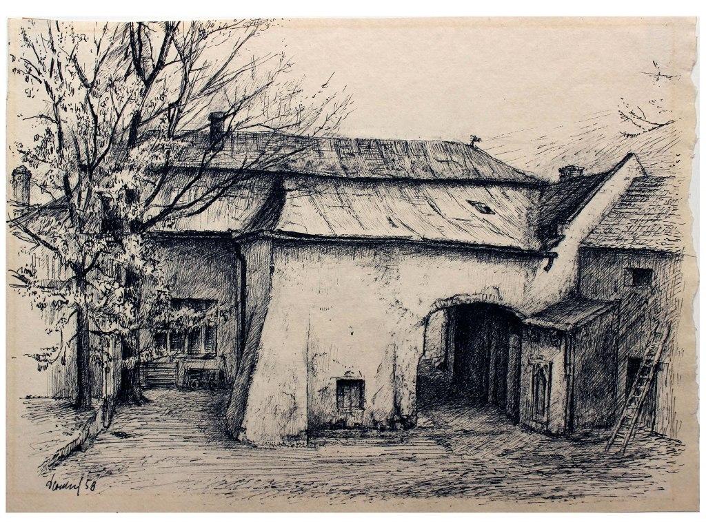 <p>Hospoda u Branžovských, perokresba, 21x29cm, Autor: Václav Dlouhý.</p>