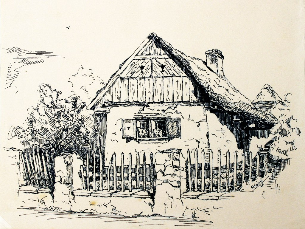 <p>Toušeň, Perokresba, 14x17cm, akvarelový papír, Autor: Zdeněk Gutwirth</p>