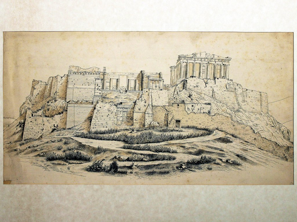 <p>Athénská akropole, kresba perem, tuší, lavírovaná sépií, 23x43,2cm ve výřezu, Autor: PhDr. Justin Václav Prášek (1853 – 1924)</p>