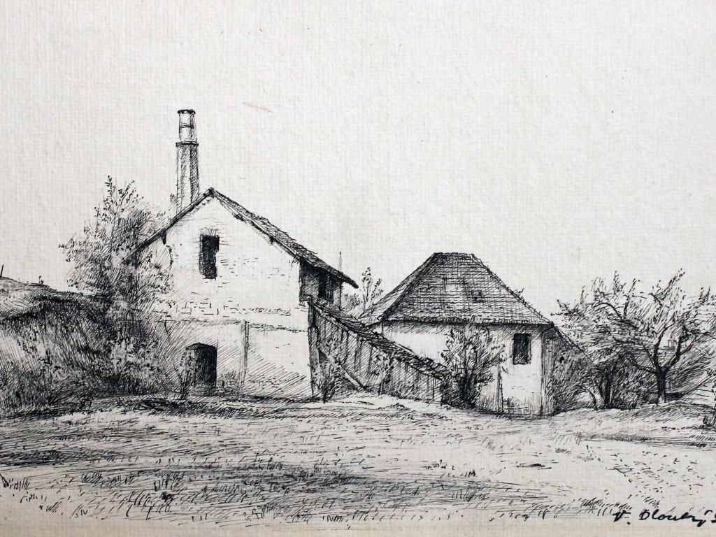 <p>Kejmarova cihelna, kresba perem, tuší, 18x27,5cm ve výřezu, Autor:Václav Dlouhý</p>