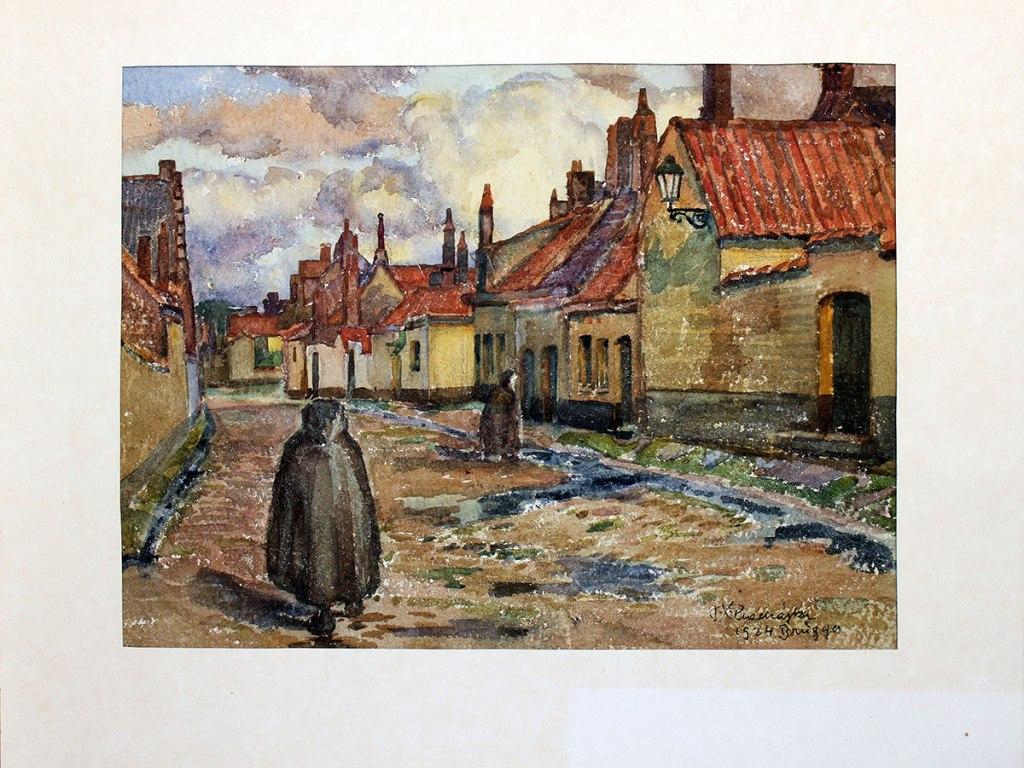 <p>Bruggy, akvarel na kartonu 23,4x31cm, autor: F. X. Procházka, datace: 1924</p>