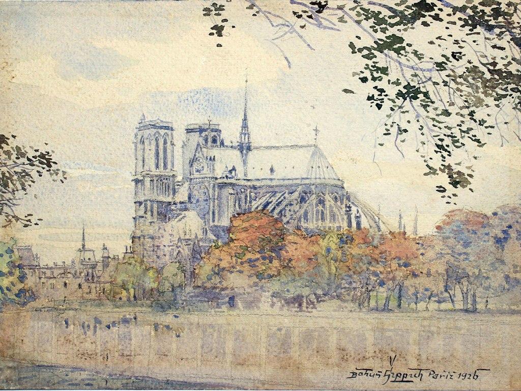 <p>Chrám Notre-Dame v Paříži, akvarel, silnější akvarelový karton 21x28,5cm, autor: Bohumil Šippich (1885-1935), datace: 1926.</p>