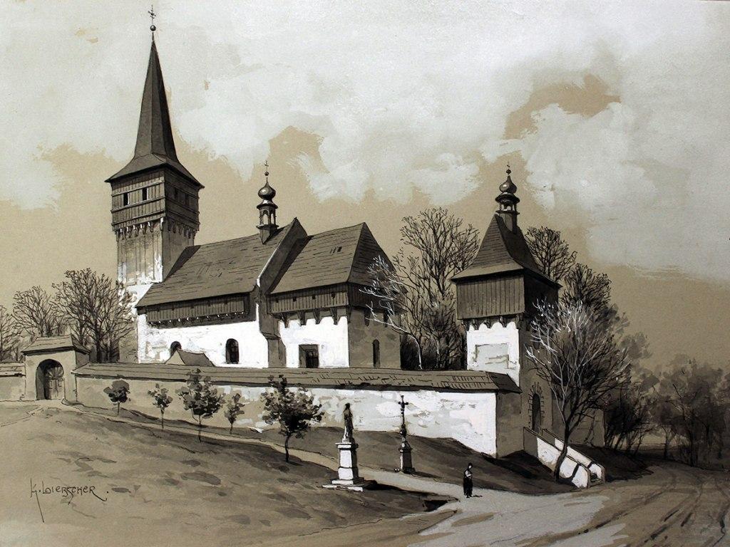 <p>Kostel v Baníně, lavírovaná perokresba s bělobou, autor: Karel Liebscher, datace konec 19. století.</p>