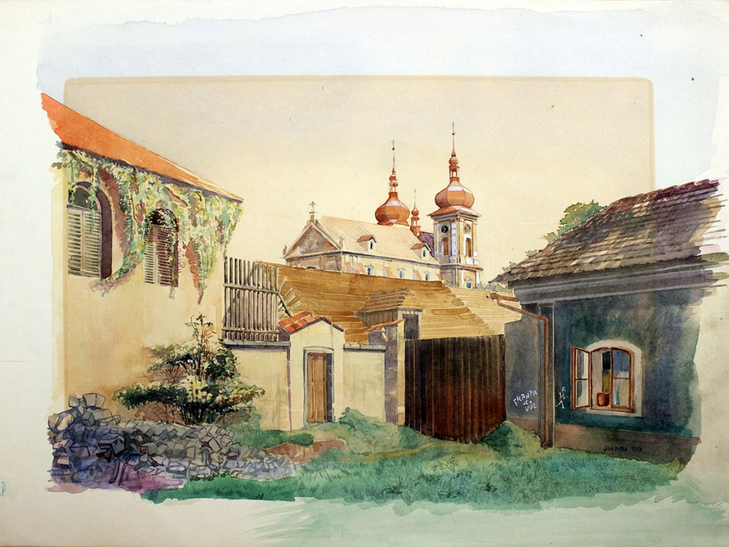 <p>Stará Boleslav, akvarel na kartonu 42x57cm, autor: Jan Ryba, datace 1950.</p>