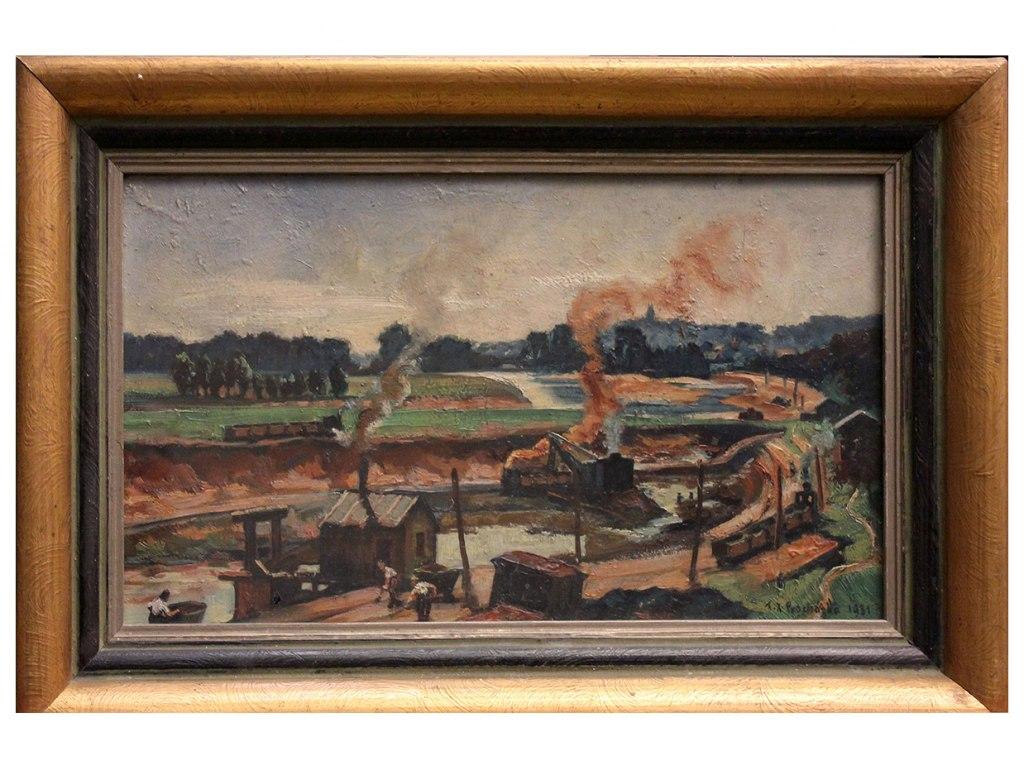 <p>Regulace Labe, Olej na lepence 19,7x34,7cm, autor: F. X. Procházka, datace 1931.</p>