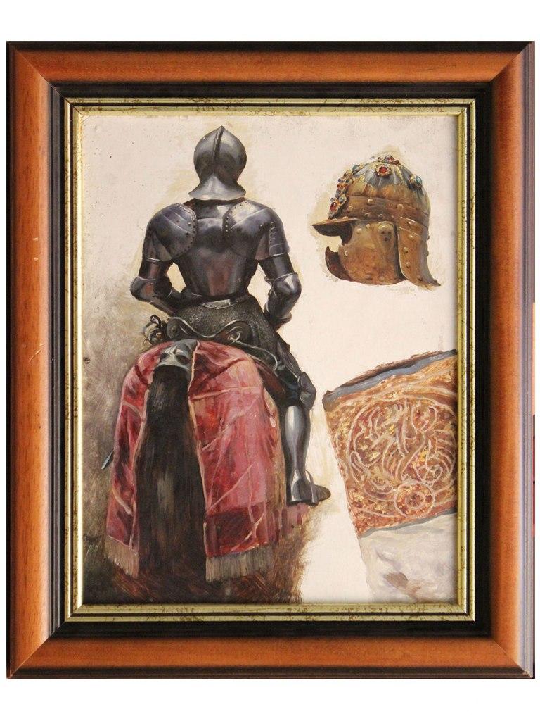<p>Studie rytíře na koni, olej na lepence 35x27cm, autor: Adolf Liebscher, datace 1883.</p>