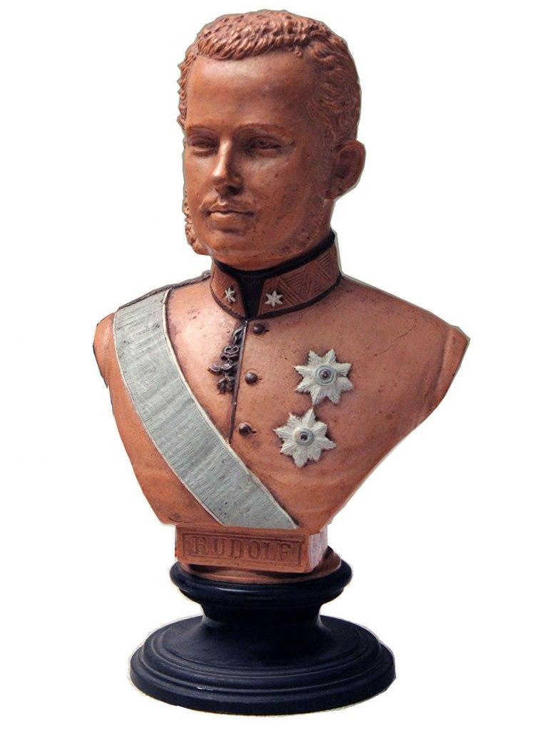 <p>Rudolf Habsburský, keramika, výška 30cm, datace 2. polovina 19. století.</p>