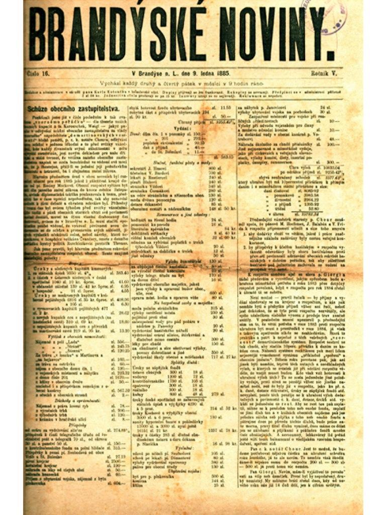 <p>Originální Brandýské noviny, roč. V, č. 16, Brandýs nad Labem, datace 1885.</p>